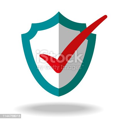 Vector Illustration, colourful and with visual impact of a Check Mark Anti Virus Shield