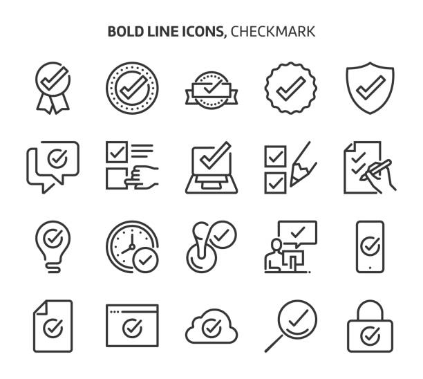 illustrazioni stock, clip art, cartoni animati e icone di tendenza di check mark, bold line icons - bonus