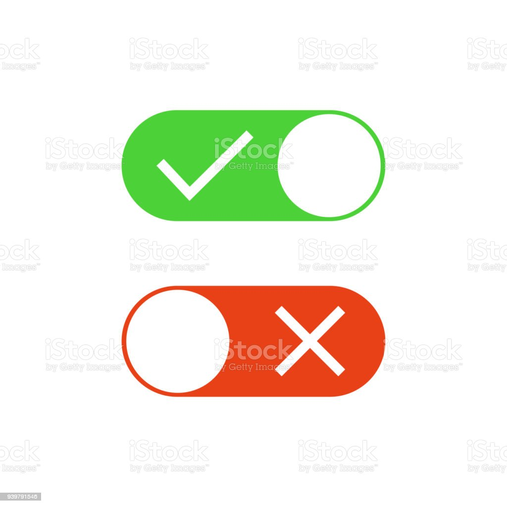 Check mark buttons. Check mark and X mark. On and Off