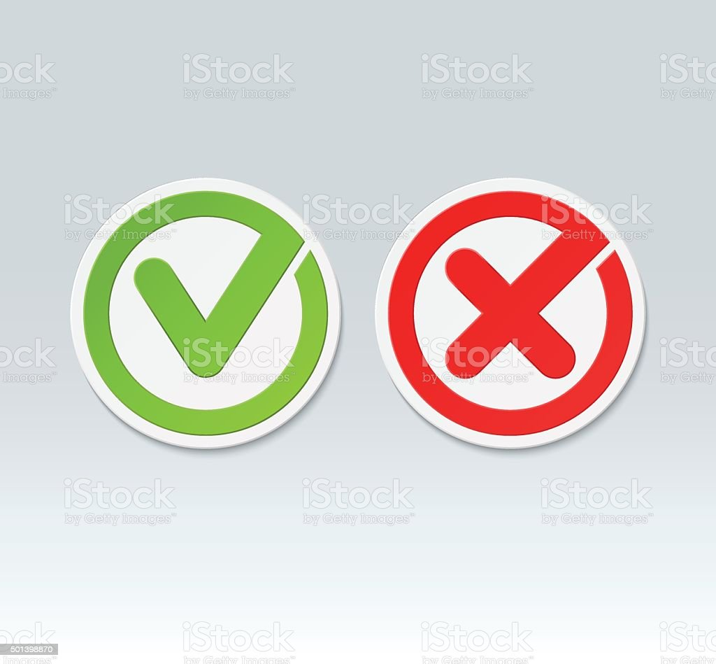 Check Mark Buttons Vector Tick And Cross Icons Stock Vector Art