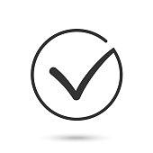 Check mark. Flat icon. Black button for web. Vector eps10