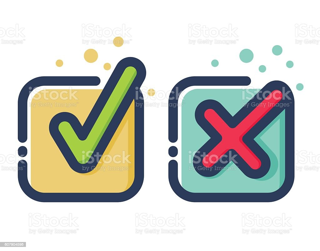 Check Mark Flat Icons vector art illustration