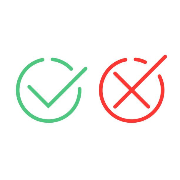 illustrazioni stock, clip art, cartoni animati e icone di tendenza di check mark green and red line icons. vector illustration - accuratezza