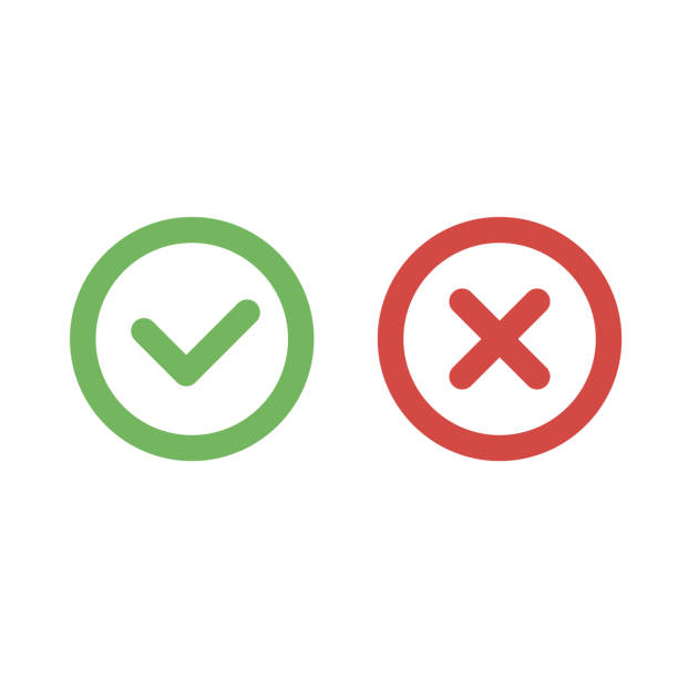 Check mark green and red line icons. Vector illustration Check mark green and red line icons. Vector illustration. mistake stock illustrations
