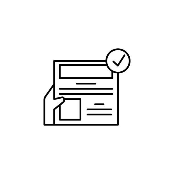 häkchen, handsymbol. element des redaktionellen design-icons. dünnzeilen-icon für website-design und-entwicklung, app-entwicklung. premium-symbol - editorial stock-grafiken, -clipart, -cartoons und -symbole