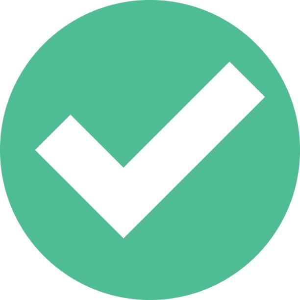 Häkchen-Symbol neben Kreis Zeichen flach Stil – Vektorgrafik