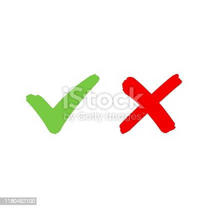 istock Check mark icon and cross sign 1180462100