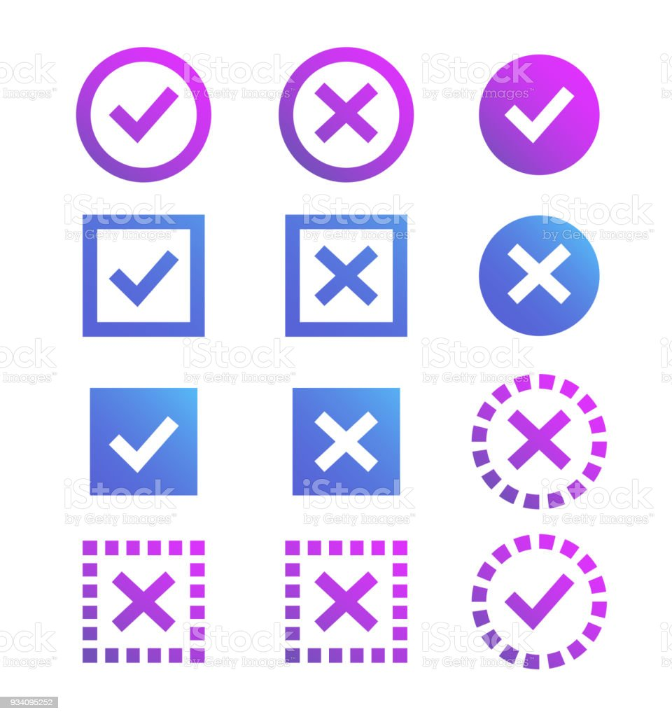 Check Mark Icon Blue And Purple Marks And Crosses Symbols Of The