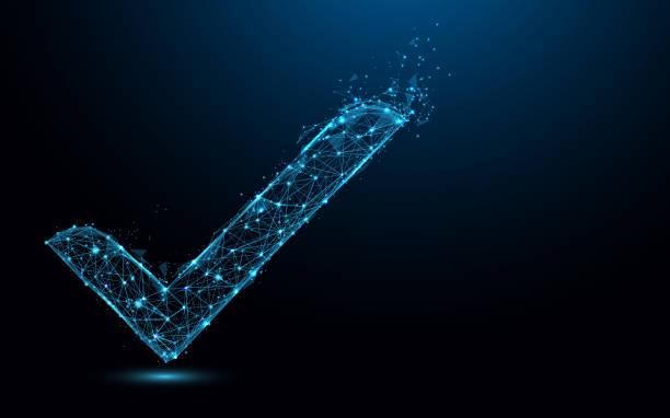 illustrazioni stock, clip art, cartoni animati e icone di tendenza di check mark icon form lines and triangles, point connecting network on blue background. illustration vector - accuratezza