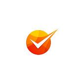 check mark icon geometry design template vector illustration