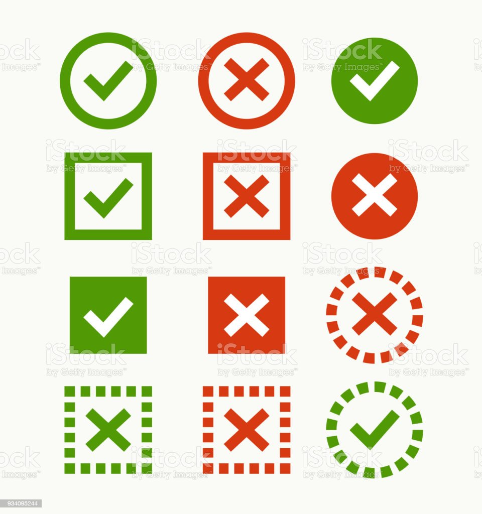 Check Mark Icon Green And Red Marks And Crosses Symbols Of The