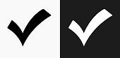 Check Mark Icon on Black and White Vector Backgrounds. This vector illustration includes two variations of the icon one in black on a light background on the left and another version in white on a dark background positioned on the right. The vector icon is simple yet elegant and can be used in a variety of ways including website or mobile application icon. This royalty free image is 100% vector based and all design elements can be scaled to any size.