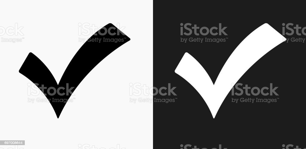 Check Mark Icon on Black and White Vector Backgrounds vector art illustration