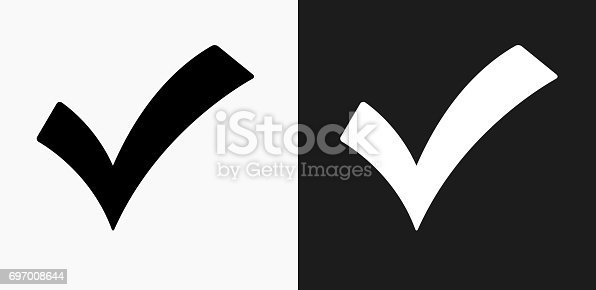 Check Mark Icon On Black And White Vector Backgrounds Stock Vector Art & More Images of Accuracy 697008644
