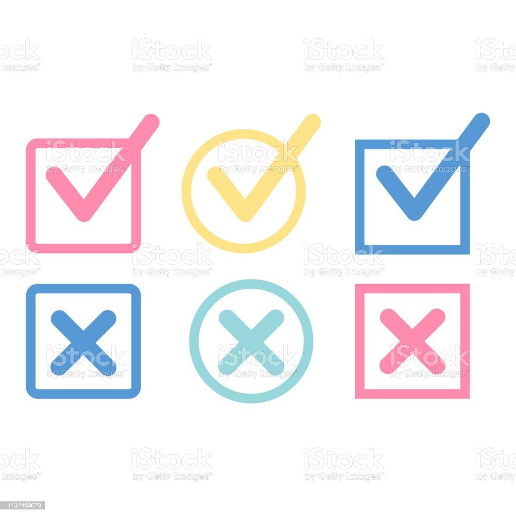Check Mark icon set. Check vector button