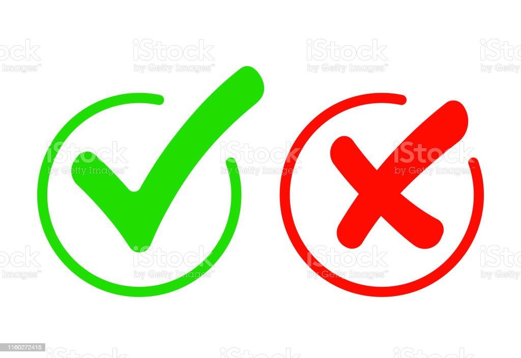 Check mark icon set. Gree Tick and red cross flat simbol. Check ok,...