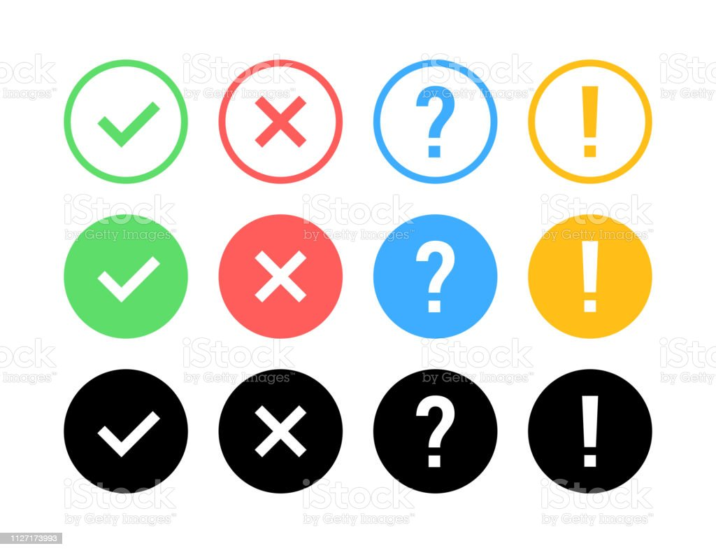 Check mark icon set. Green OK or V tick, red X, exclamation mark,...