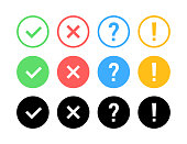 Check mark icon set. Green OK or V tick, red X, exclamation mark, Question mark. Approval signs. Check list, test, quiz. Vector illustration.