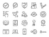 Check mark icon set. Included the icons as correct, verified, certificate, approval, accepted, confirm, check List and more