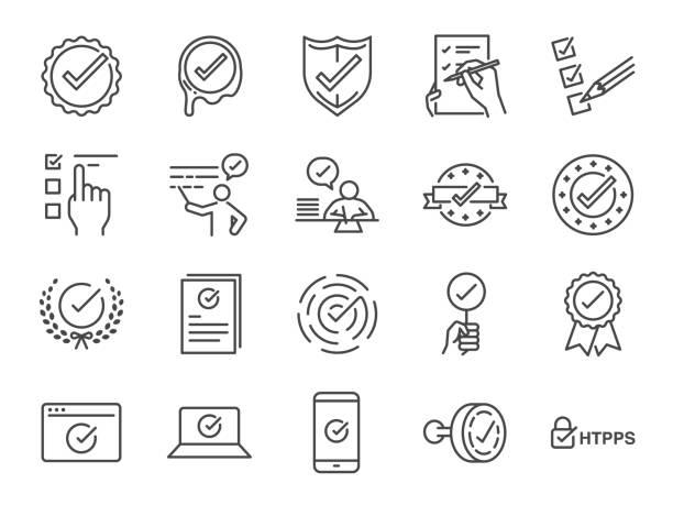확인 표시 아이콘 세트입니다. 아이콘 포함으로 서 정확 하 고, 검증, 인증서, 수락, 승인, 확인, 확인 목록 및 더 많은 - 일과 stock illustrations