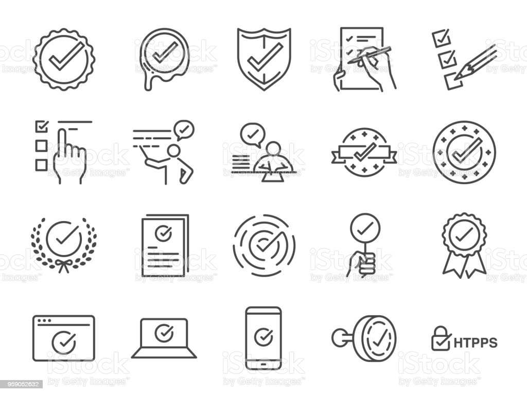 Check mark icon set. Included the icons as correct, verified, certificate, approval, accepted, confirm, check List and more vector art illustration