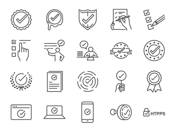 check mark icon set. included the icons as correct, verified, certificate, approval, accepted, confirm, check list and more - obsługa stock illustrations