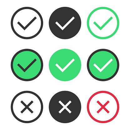 Check Mark Icon Set Vector Design on White Background.