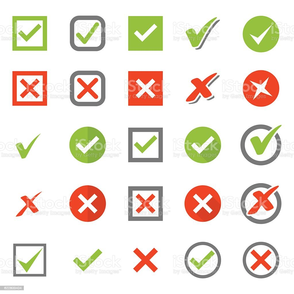 Check Mark Icon Set vector art illustration