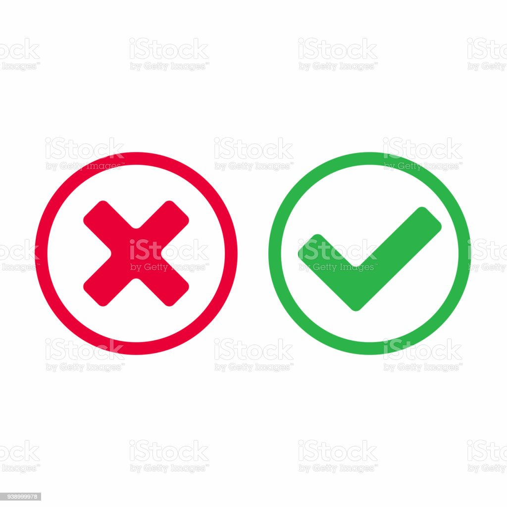Check Mark Icon Signs Vector Illustration Yes Or No Right And Wrong
