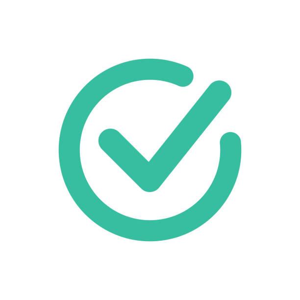 Häkchen-Symbol Symbol Vektor. Tick und Kreuz-Zeichen. Grünes Häkchen-Symbol, isoliert auf weißem Hintergrund. Schaltfläche