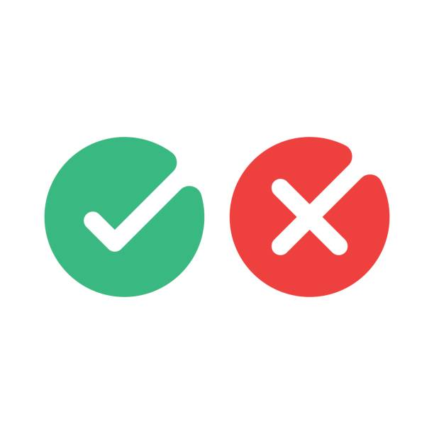 Check mark icons. Green tick and red cross checkmarks flat icons set. Vector illustration isolated on white background. Check mark icons. Green tick and red cross checkmarks flat icons set. Vector illustration isolated on white background yeah right stock illustrations