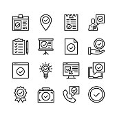Check mark icons set. Pixel perfect. Linear, outline symbols. Thin line design. Vector line icons set
