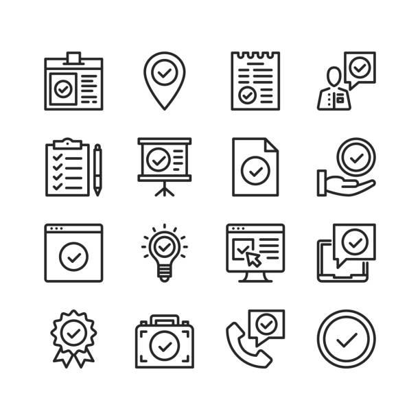 stockillustraties, clipart, cartoons en iconen met vinkje pictogrammen instellen. pixel perfect. lineaire, overzichtssymbolen. dun lijn ontwerp. vector lijn iconen set - beëindigen