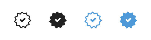 illustrazioni stock, clip art, cartoni animati e icone di tendenza di check mark icons set.  profile verification blue button in flat. vector right symbol - box name