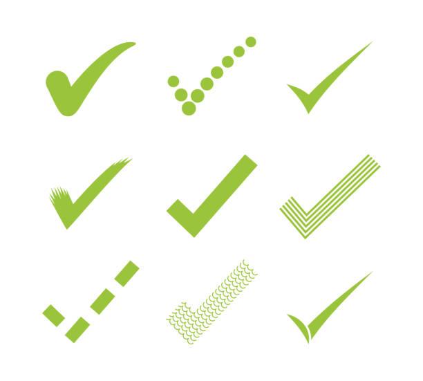 illustrazioni stock, clip art, cartoni animati e icone di tendenza di icone del segno di spunta - controllo