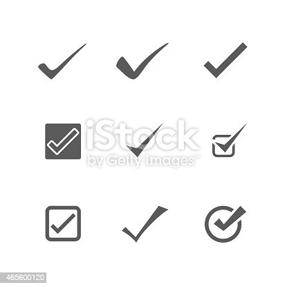 Set of check mark signs & symbols vector on white background. EPS 10