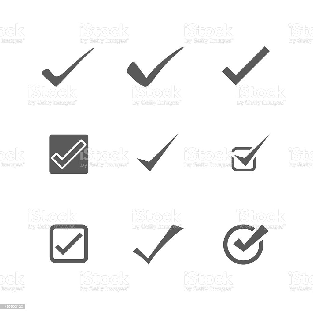 Check Mark Icons Vector vector art illustration