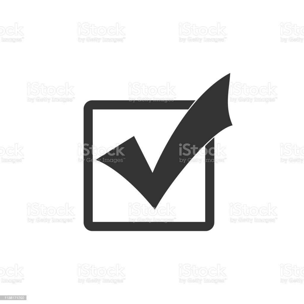 Check mark in a box icon isolated. Tick symbol. Check list button...