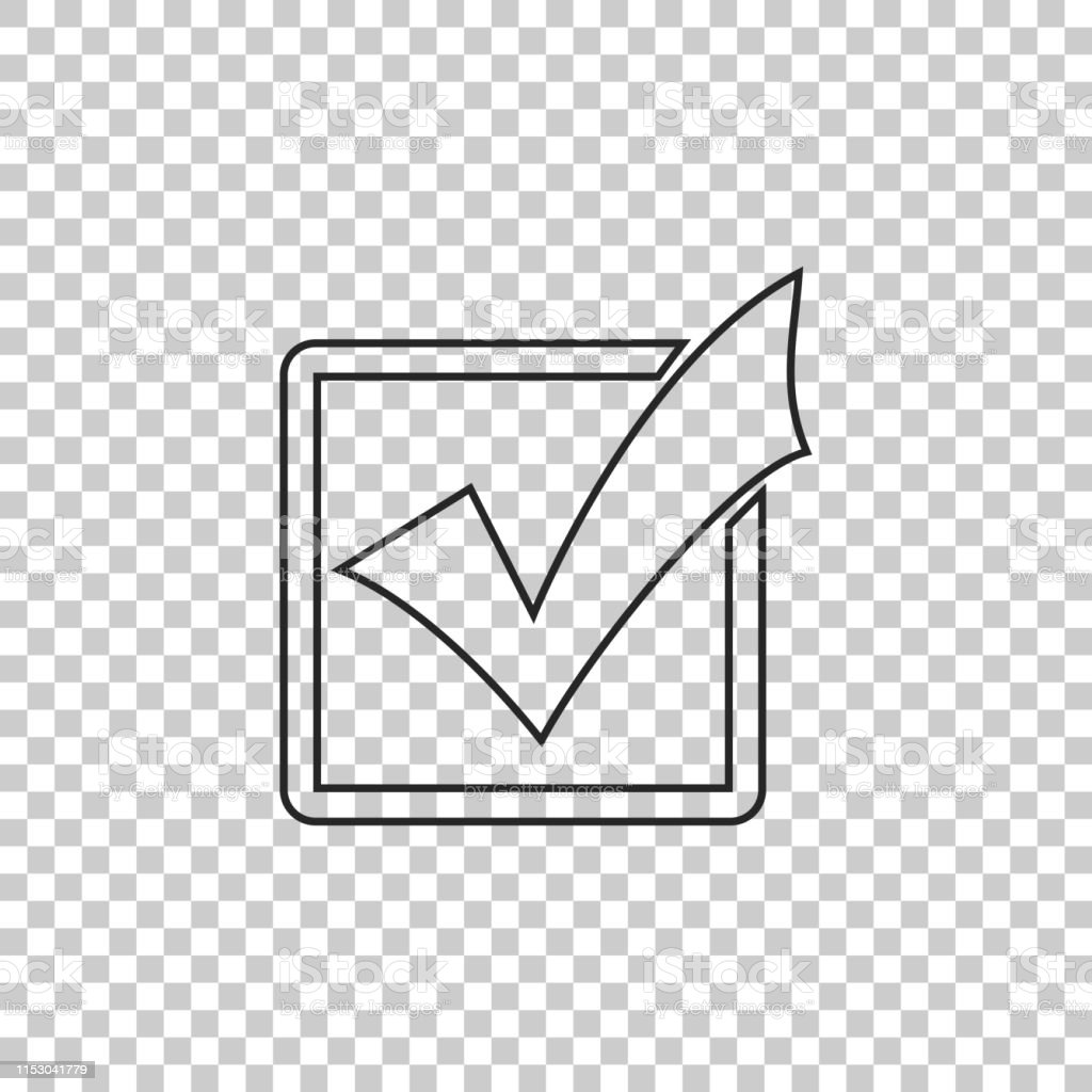 Check mark in a box line icon isolated on transparent background....