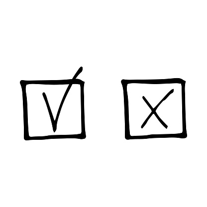 check mark in a square sketch icon, sticker, poster, hand drawn vector doodle, minimalism, monochrome. set of elements for design, vote, election, done