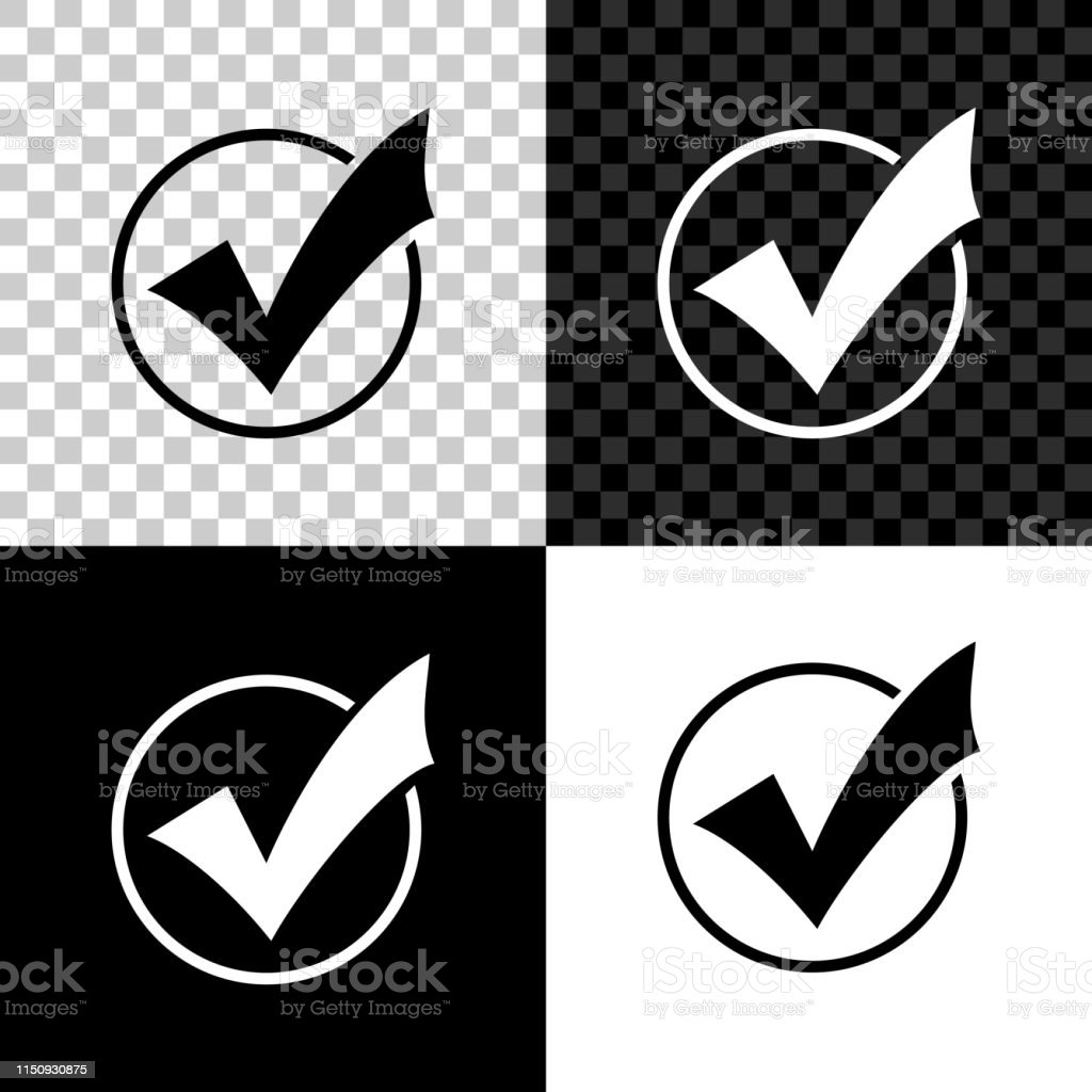 Check mark in round icon isolated on black, white and transparent...