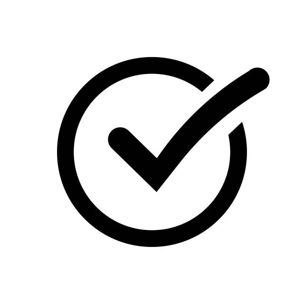 Check mark isolated on white background. Check list button black color. Accept done. Check mark isolated on white background. Check list button black color. Accept done. EPS 10 check financial item stock illustrations