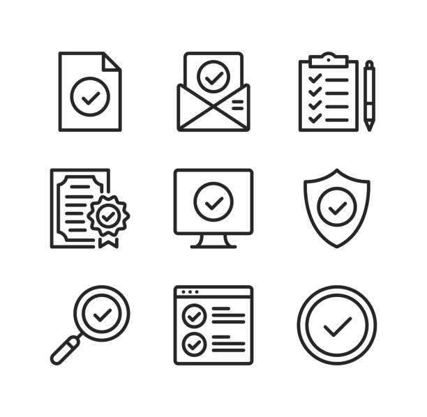 Check mark line icons. Checkmarks, ticks, accept, verification, approve concepts. Simple outline symbols, modern linear graphic elements collection. Vector line icons set vector art illustration