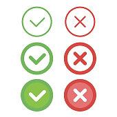 Check mark line icons set. Vector illustration.