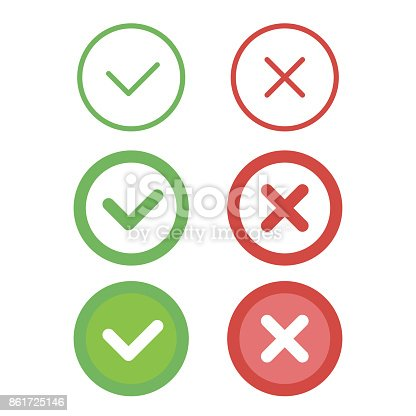 Check mark line icons set. Vector illustration.