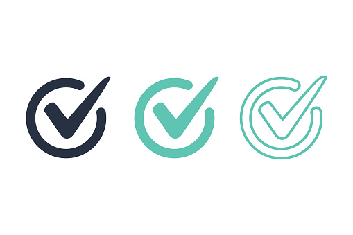 Check mark logo vector or icon vector illustration concept image icon. Access, right answer icons set for website ui, ux interface. Guarantee, correct choice or confirm sign. Checklist signage