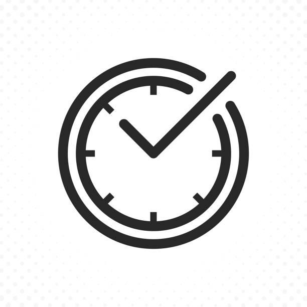 illustrazioni stock, clip art, cartoni animati e icone di tendenza di check mark on clock line icon - data