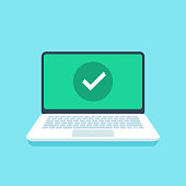 Check mark on laptop screen. Success tick icon or confirmation notification on open laptop display flat vector illustration