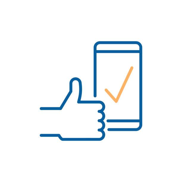 Case à cocher à l'écran du téléphone intelligent avec un coup de pouce vers le haut indiquant le succès, approbation, Télécharger complète une rétroaction positive. Illustration vectorielle fine ligne icône design - Illustration vectorielle