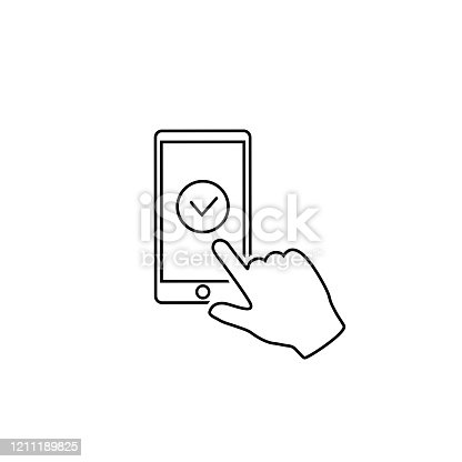 Check mark on Smartphone screen. Hand holds the Smartphone and finger touches screen. Flat design illustration line con